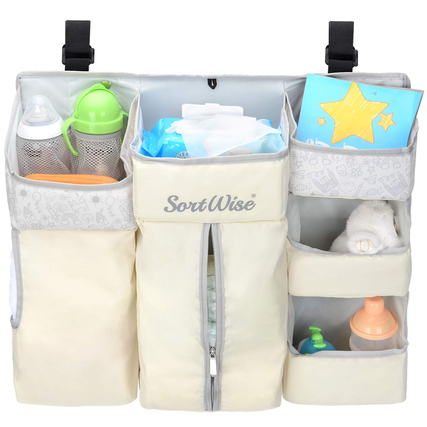 SortWise Nursery Organizer Baby Diaper Caddy | Hanging Diaper Organization Storage for Baby Diapers, Toys, Bottles, Wet Wipes | Hang on Crib, Changing Table, Door Or Wall