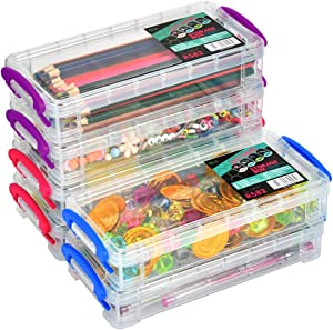 "6 Pack Large Capacity Pencil Box, Stackable Clear Plastic Pencil Box, Office Supplies Storage Organizer Box, Brush Painting Pencils Storage Box Watercolor Pen Container, 8.15"" x 1.65"" x 4"""