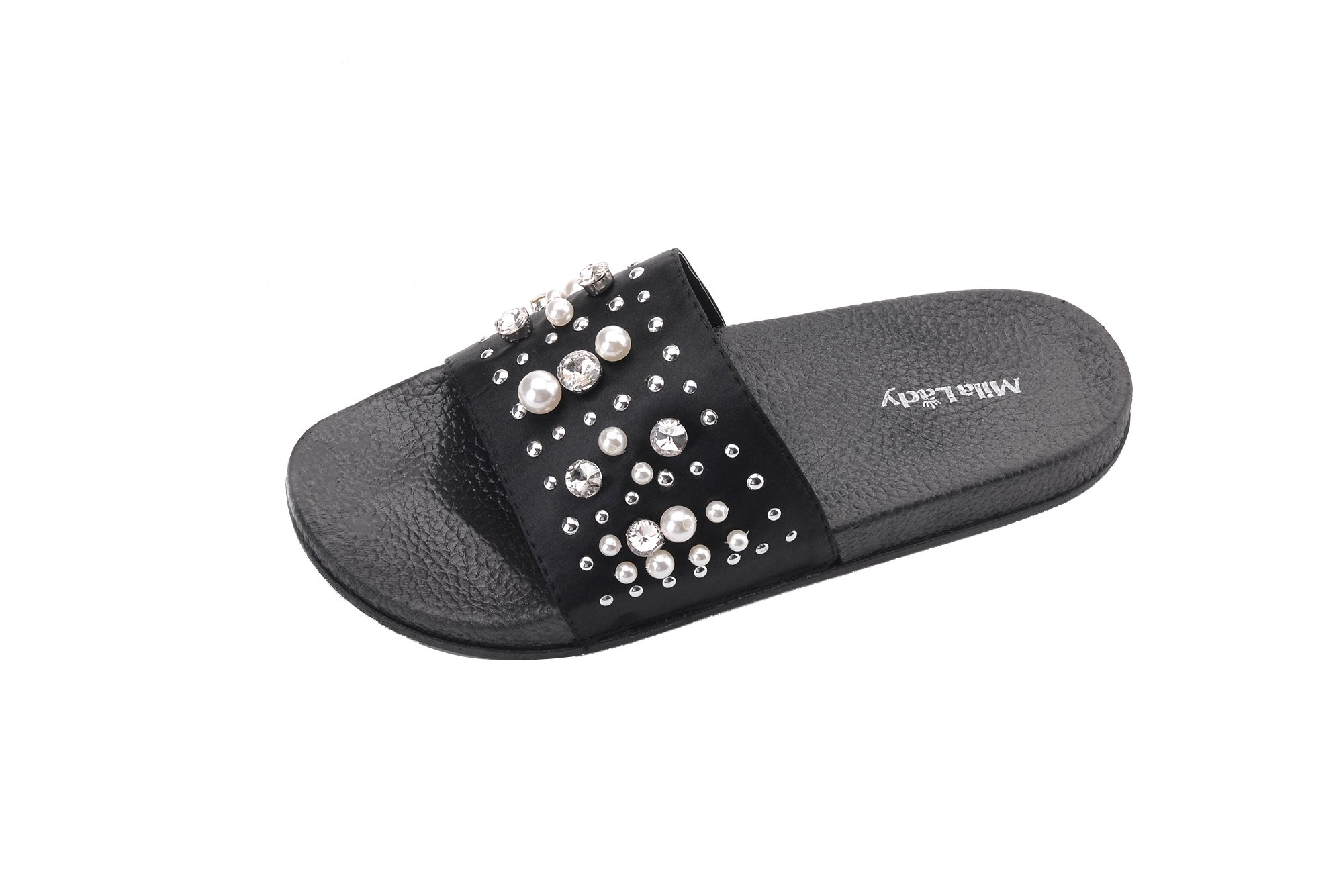Ashley A Collection Sandy Women's Fashion Slipper with Pearl and Rhinestone Upper Slip On Silky Slide Sandal, Black 7