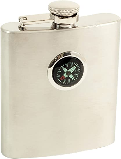 8 Oz Stainless Steel Compass Flask Sports Outdoors