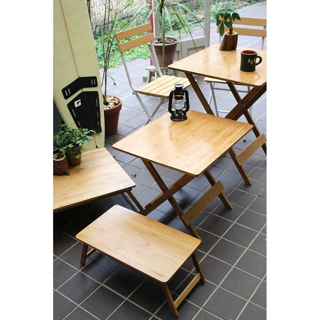Portable Dining Use Time Concept Vacances Foldable Bamboo Table Wooden Picnic Furniture