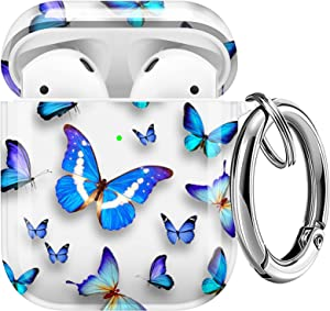 Maxjoy Compatible AirPods Case Cover, Clear Butterfly Case Cute Soft Protective Shockproof Cover with Keychain Compatible with Apple AirPods Wireless Charging Case 2&1 Girls Women Men, Blue Butterfly