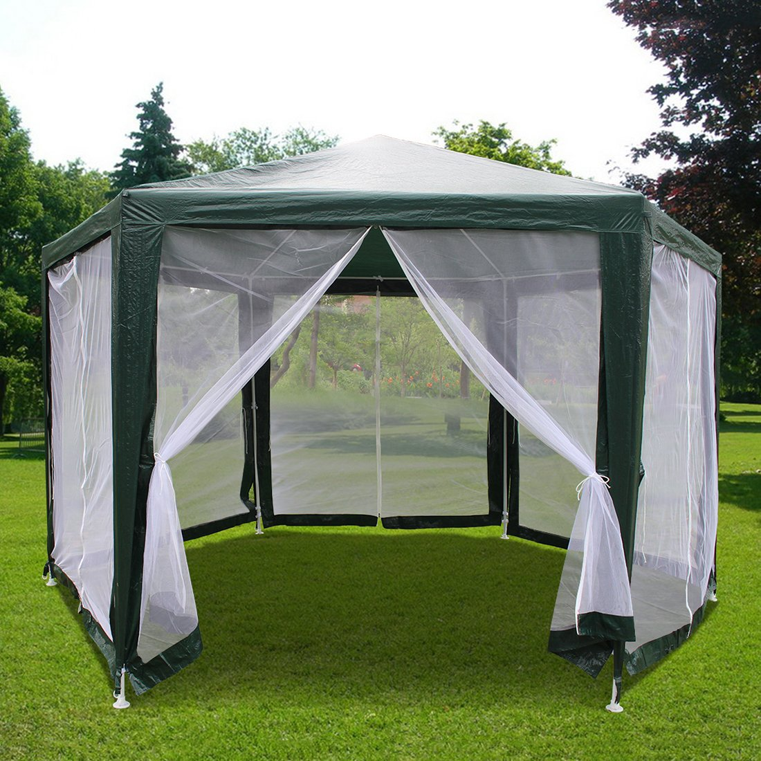 Quictent 6.6'x6.6'x6.6' Outdoor Hexagon Canopy Party tent Gazebo Sun Shade Shelter Screen House with Fully Enclosed Mesh Side Wall Green 1207-G