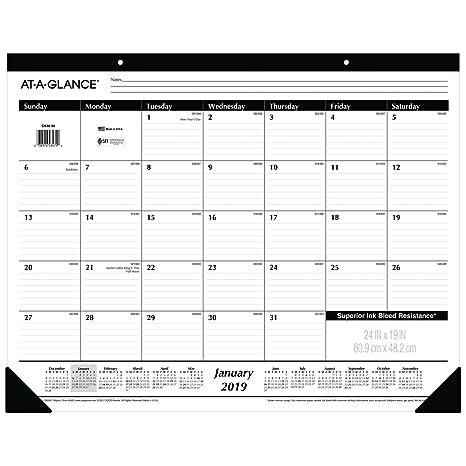 Amazon Com At A Glance 2019 Desk Calendar Desk Pad 24 X 19