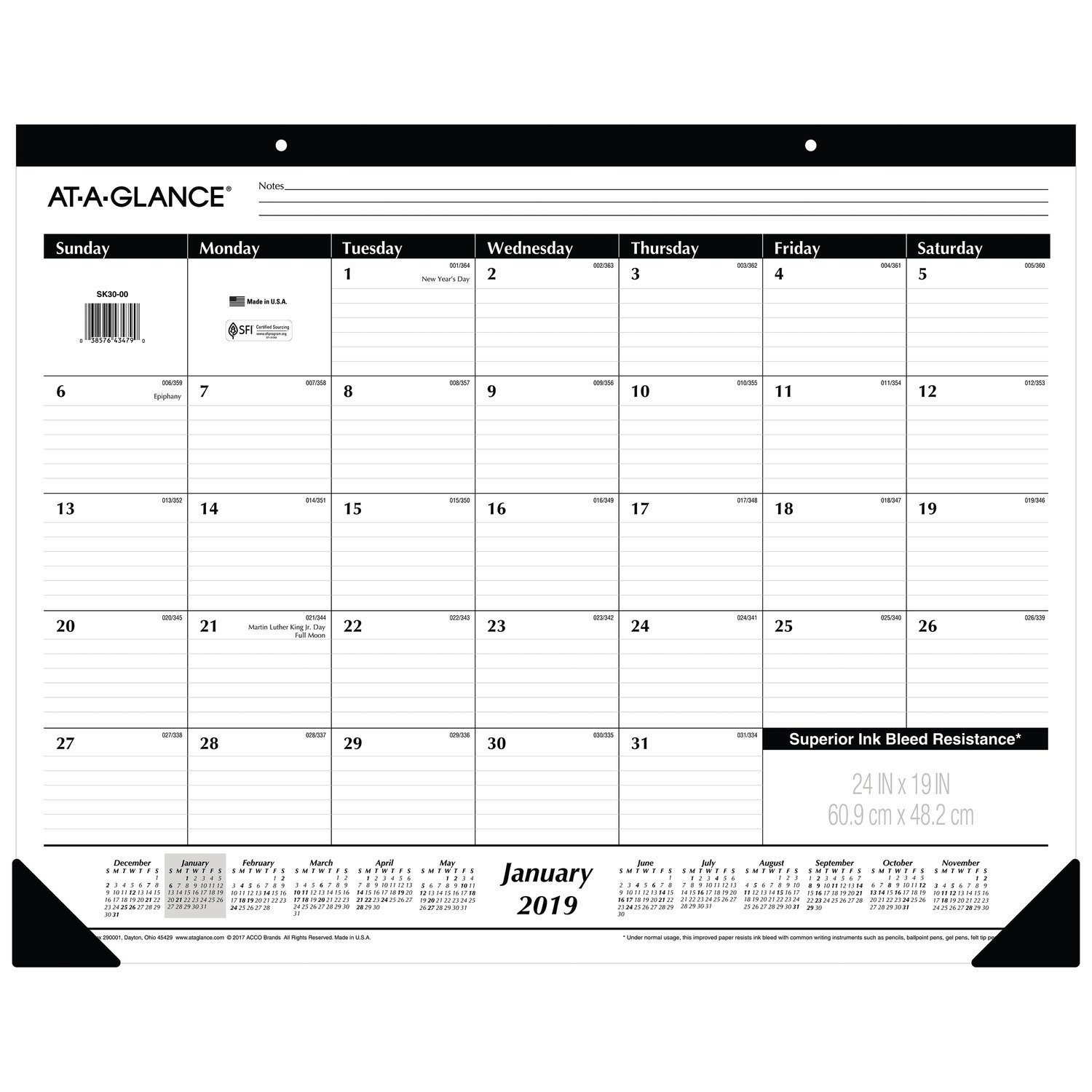 AT-A-GLANCE 2019 Monthly Desk Pad Calendar, 24'' x 19'', Jumbo, Ruled (SK3000)