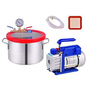 1.5 Gallon Vacuum Chamber, Heavy Duty Stainless Steel Degassing Chamber Kit with 3 CFM 1/4HP Single Stage Vacuum Pump (3CFM Vacuum Pump + 1.5 Gallon Vacuum Chamber, Without Oil)