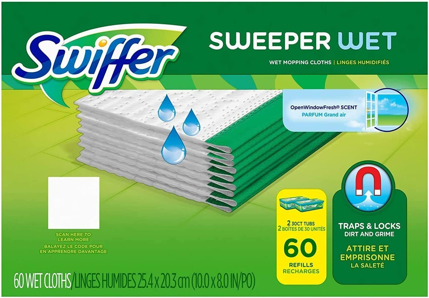 Swiffer Sweeper Wet Cloth Refill, 60 Count: Home & Kitchen