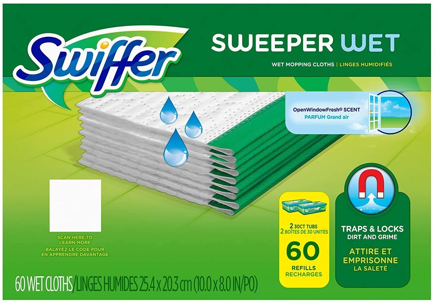 Swiffer Sweeper Wet Cloth Refill, 60 Count