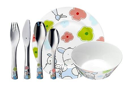 WMF Farmily - Vajilla para niños 6 piezas, incluye plato, cuenco y cubertería (