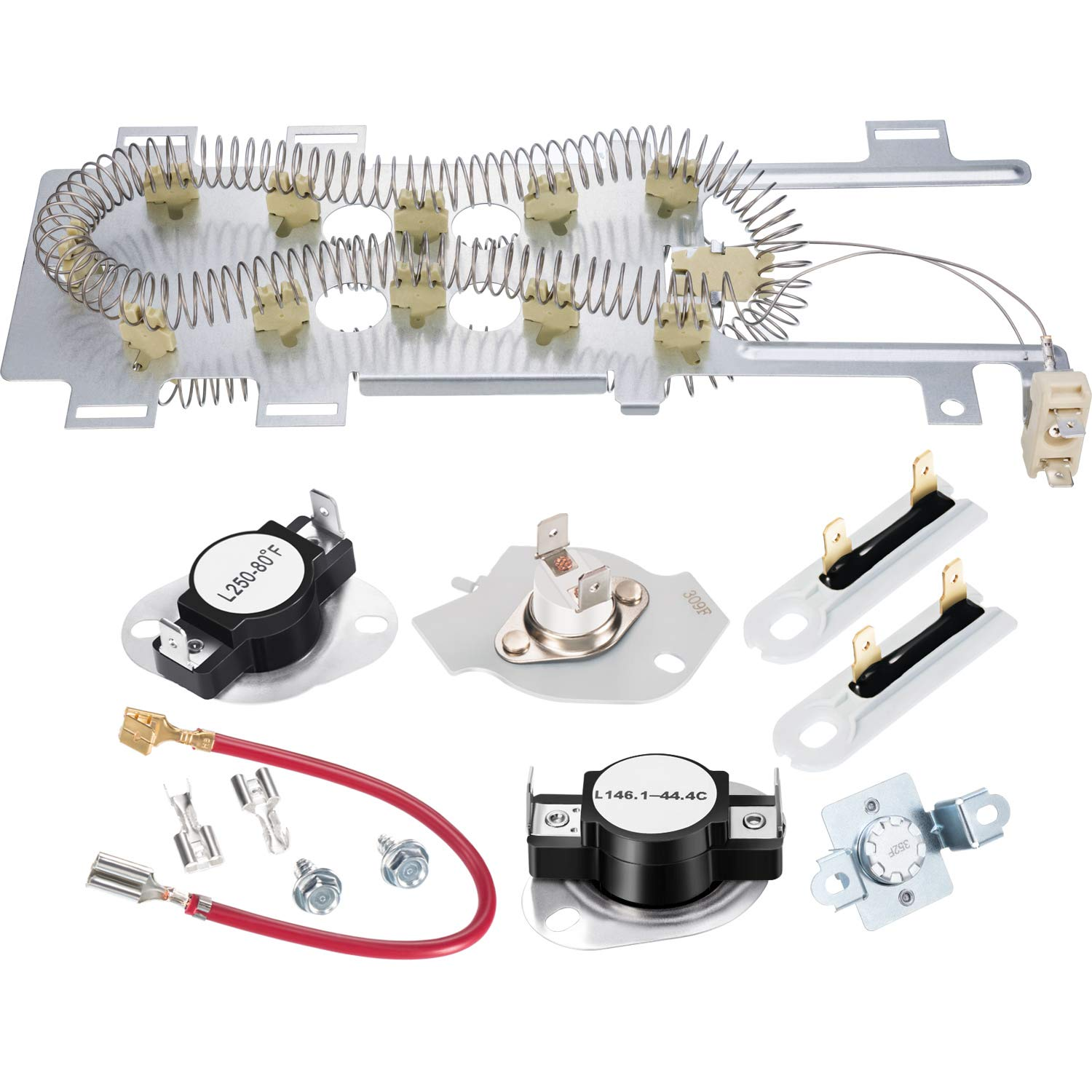 Jovitec Dryer Replacement Including Heating Element 8544771 Thermal Fuse (279973 and 3392519), 279816 Thermostat Compatible with Maytag, Kenmore and More