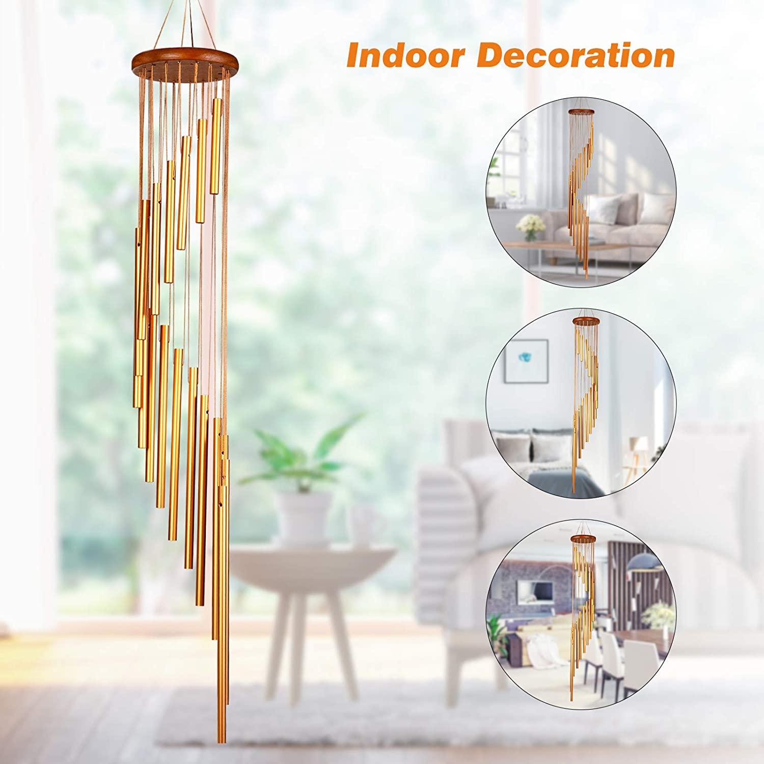36 Inches Wind Bell With18 Aluminum Alloy Tubes /& 3 S-Hooks Best Gift or Outdoor Decor for Garden//Yard//Patio//Porch//Home Memorial Wind Chimes Outdoor Martvex Wind Chimes for Outside Golden