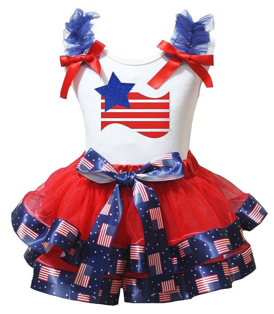 Petitebella Star Stripes Flag White Shirt US Flag Red Petal Skirt Set Nb-8y