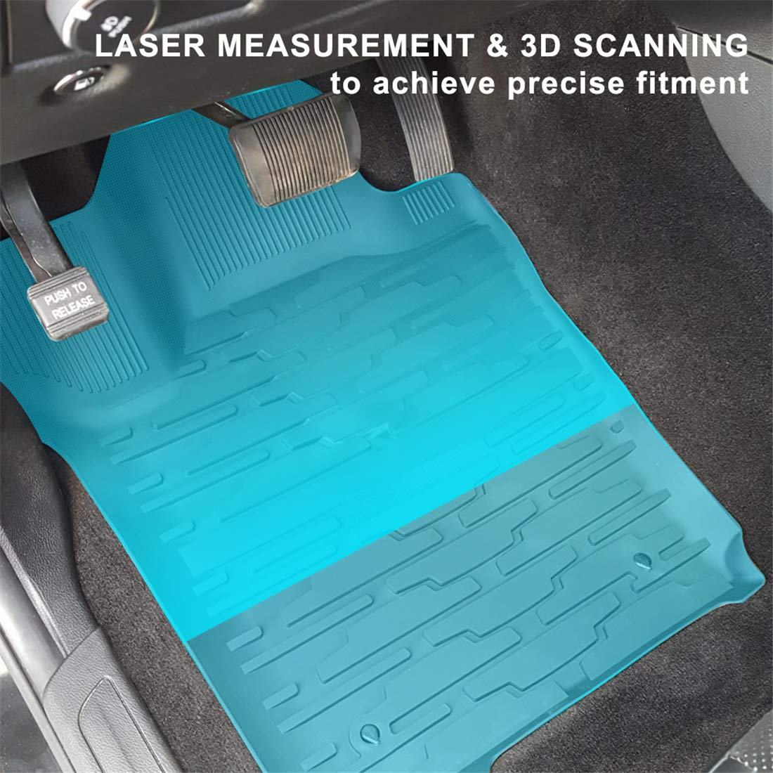 KIWI MASTER Floor Mats & Cargo Liners Set Compatible for 2013-2015 Jeep Grand Cherokee Front & Rear Black Floor Cargo Mat All Weather Protection Slush Mats by KIWI MASTER (Image #2)