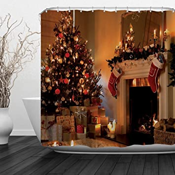 christmas shower curtain sets christmas tree gifts fireplace decor for xmas even and new year - Christmas Bathroom Decor Amazon