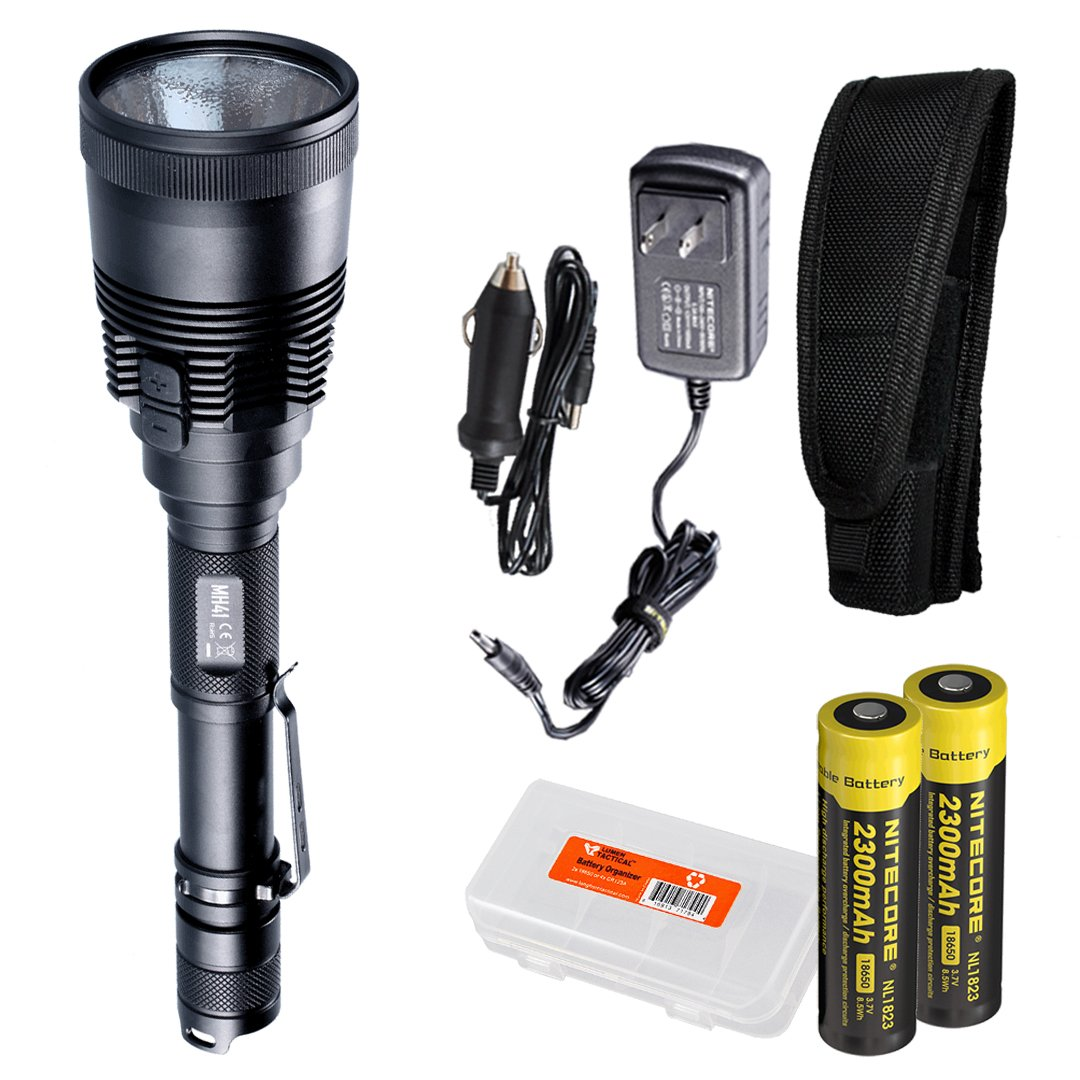 Nitecore MH41 2150 Lumen Rechargeable LED Flashlight with 2x 18650 Batteries, Car Adapter, and LumenTac Battery Organizer by Nitecore