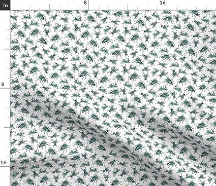 Amazon com: Spoonflower Green Watercolor Flies Fabric