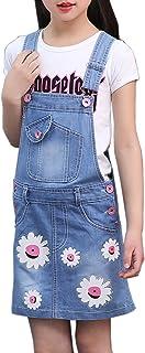 Sitmptol Big Girls Summer Daisy Printed Bibs Overall Dress Shortalls with Sweet T-Shirt 18Arp-180409-28