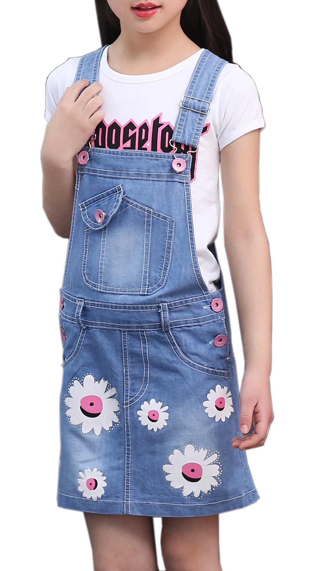 Sitmptol Big Girls Pink White Floral Printed Bibs Overall Skirts Sweet T-Shirt 160 Blue