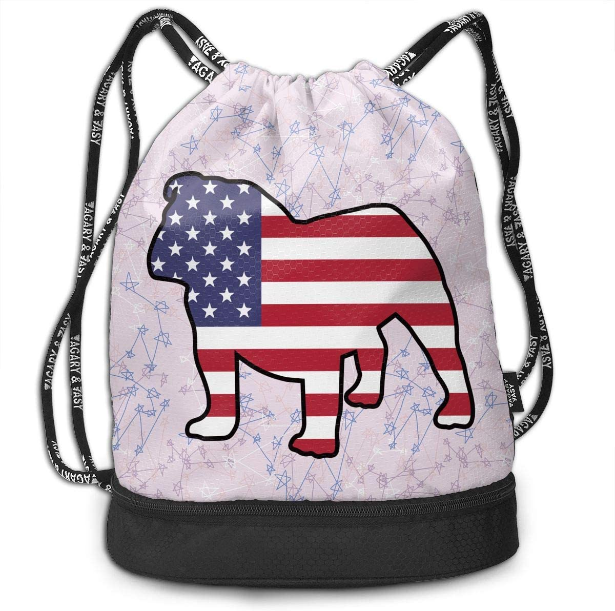 English Bulldog American Flag Drawstring Bag Multifunctional String Backpack Custom Cinch Backpack Sport Gym Sack
