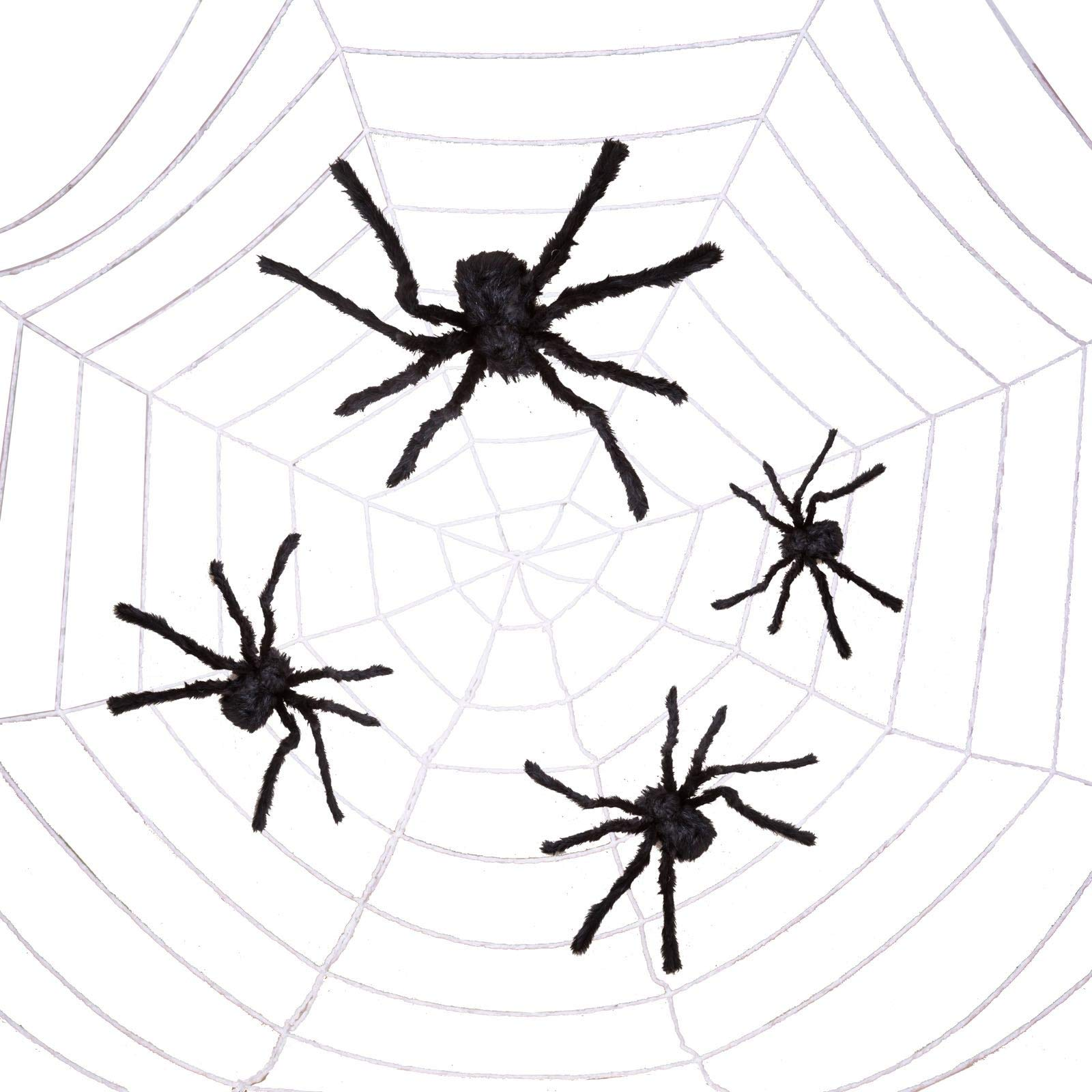 Four Halloween Realistic Hairy Spiders Set, Valuable Halloween Props, Halloween Spider Set for Indoor and Outside Decorations by JOYIN (Image #3)