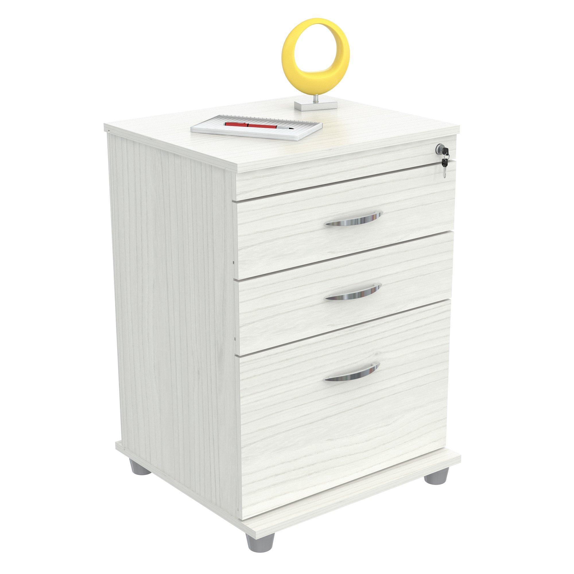 Inval AR-3X1RB Locking File Cabinet, Laricina-White