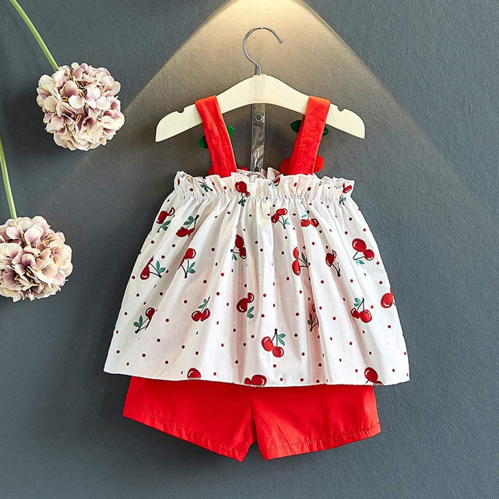 Womola 2pcs Set Toddler Kids Baby Girls Outfits Clothes Cherry Embroidered t-Shirt Vest Tops+Shorts Pants