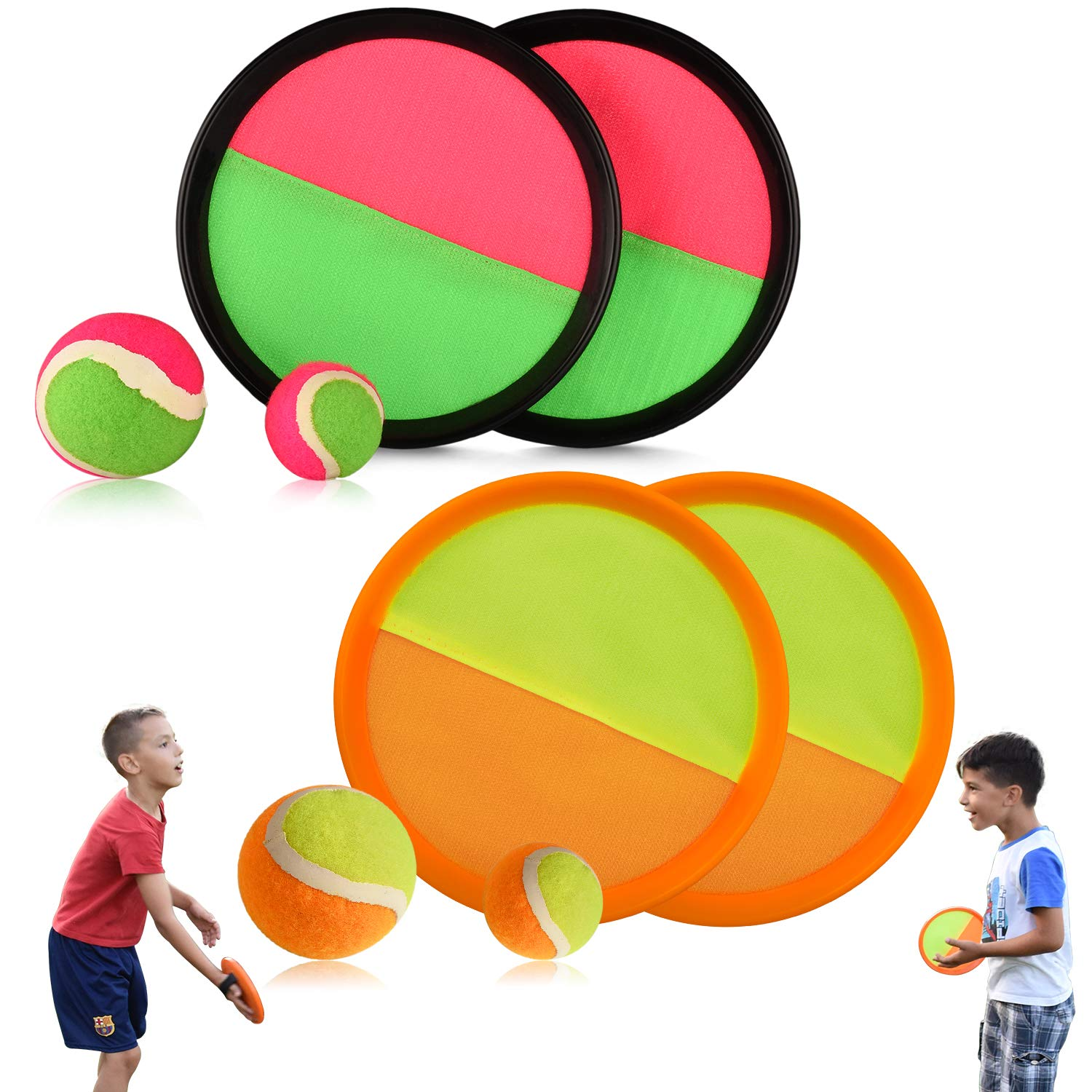 Abco Tech Paddle Toss and Catch Game Set - Set of 2 - Hook and Loop Self-Stick - Disc Paddles and Toss Ball Sport Game - 4 Paddles, 2 Large Balls, 2 ...