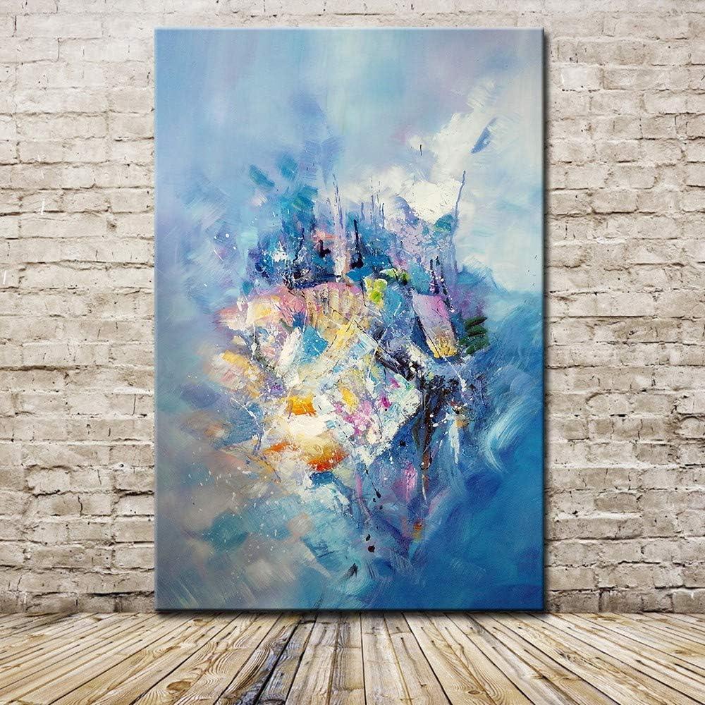 Pinturas Al Pintura Al Óleo Pintado A Mano,100% Pintado A Mano Azul Y Blanca De Graffiti Espátula Cuadros Pintados A Mano De Pintura Al Óleo Sobre Lienzo De Pared De Arte Moderno Salón Decoracion