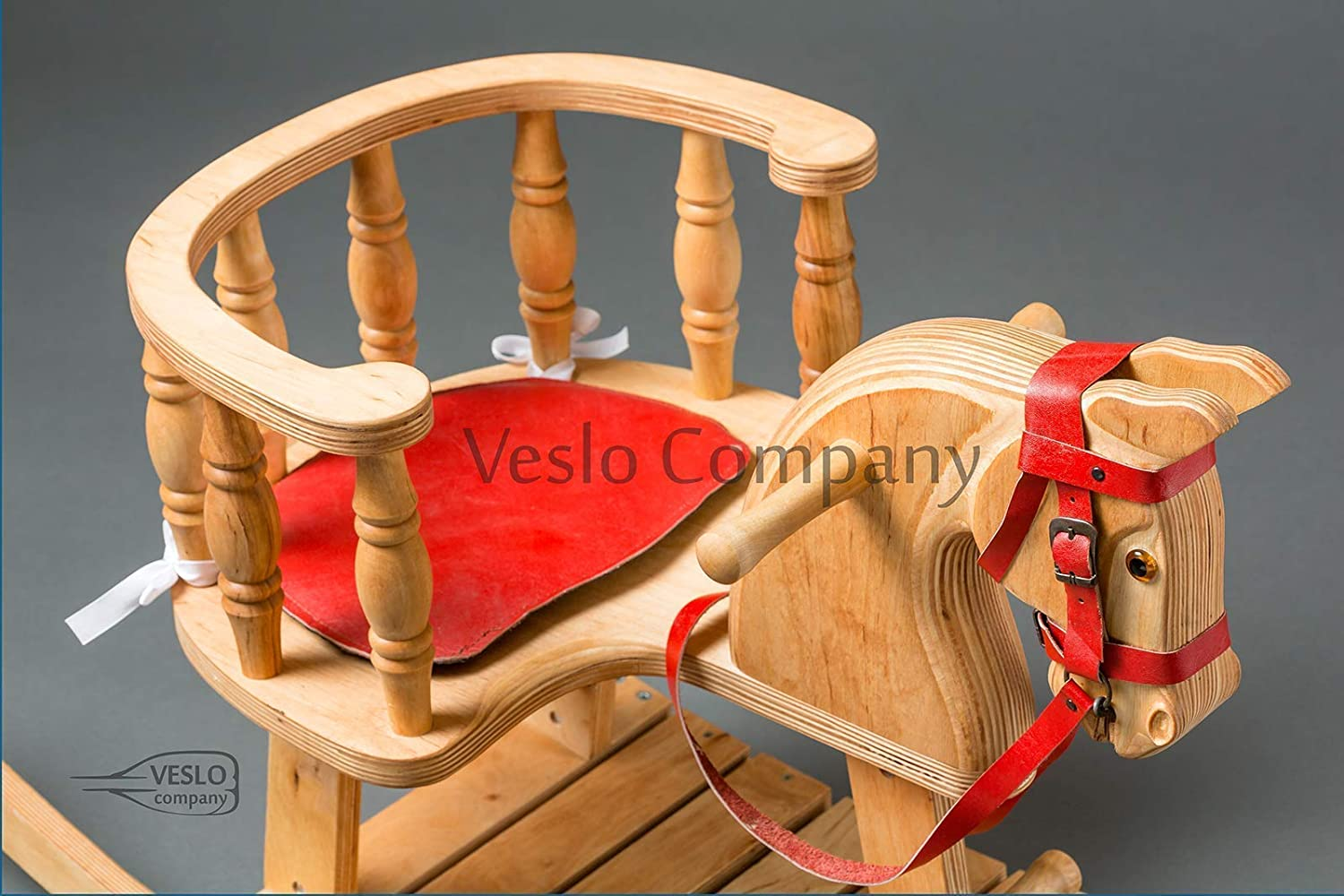 Christmas Rocking Horse Ride on wooden horse Bright Flash Royal Toy Best Gift for Baby Classic English Rocking Horse