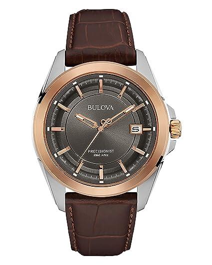 4c0c5e817455 Bulova Precisionist 98B267 - Reloj de Pulsera de diseño para Hombre -  Correa de Cuero - Color Oro Rosa  Amazon.es  Relojes