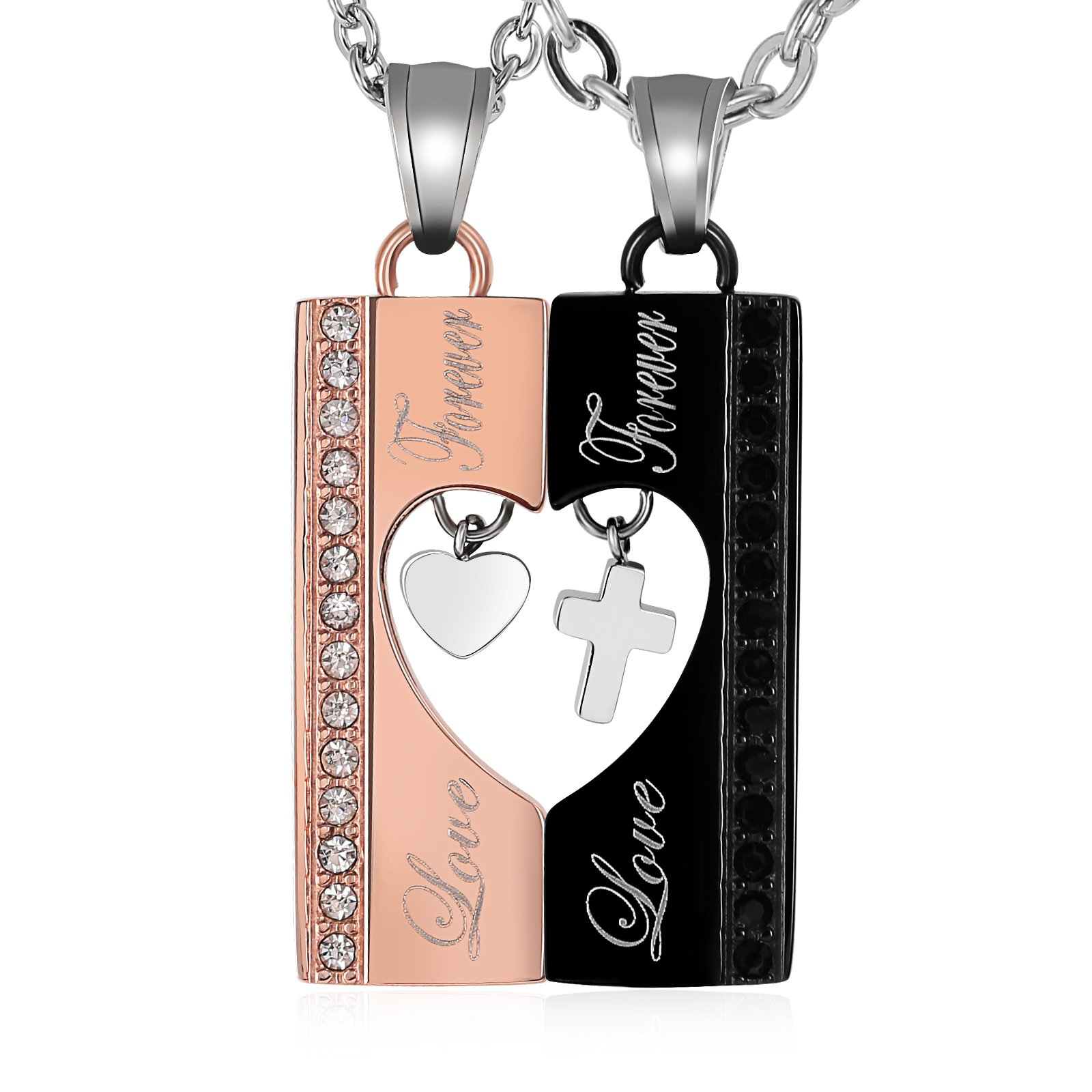 Aienid Womens and Mens Necklaces Set Stainless Steel CZ Love Cross Roads Pendant Necklace Black & Rose Gold