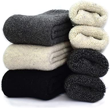 Pack of 3//5 ,Multicolor,One Size 7-12 Mens Heavy Thick Wool Socks Soft Warm Comfort Winter Crew Socks