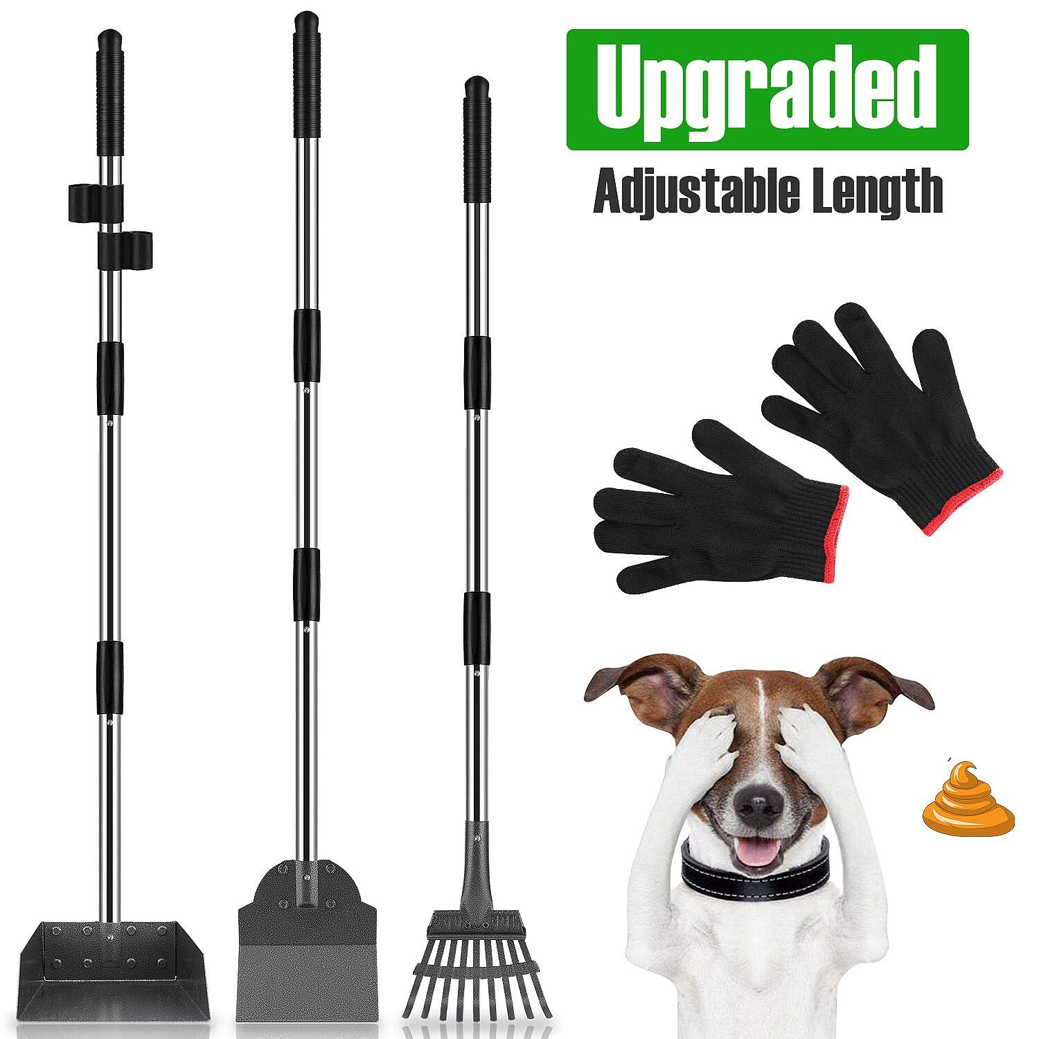 MOICO Dog Pooper Scooper,3 Pack Upgraded Adjustable Long Handle Metal Tray,Rake and Spade Poop Scoop,Pet Waste Removal Pooper Scooper for Large Dogs and Pets by MOICO