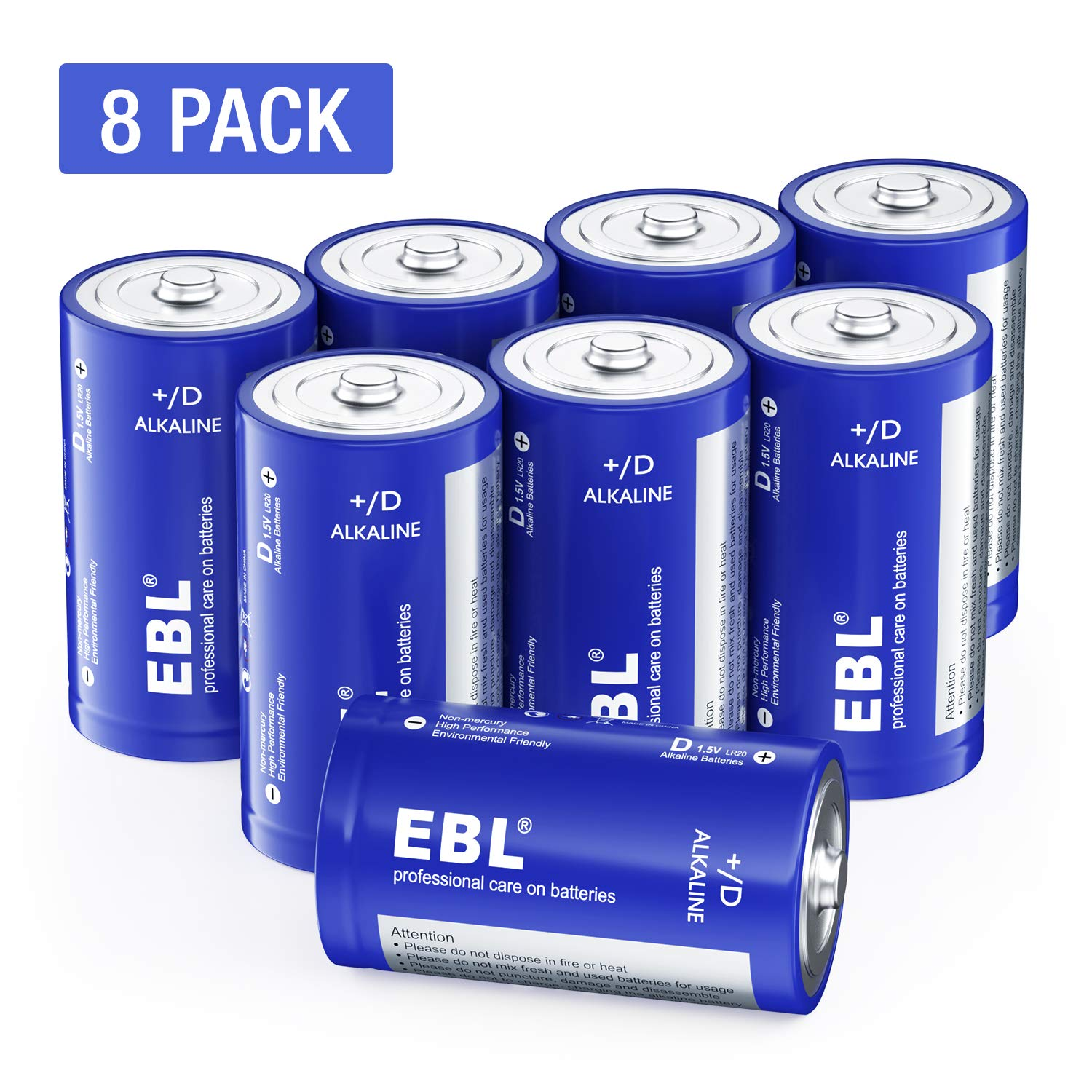 EBL D Batteries Alkaline D Batteries - Durable 1.5V D Alkaline Batteries for Flashlight, Toys, Camera, LED Candle(Pack of 8)