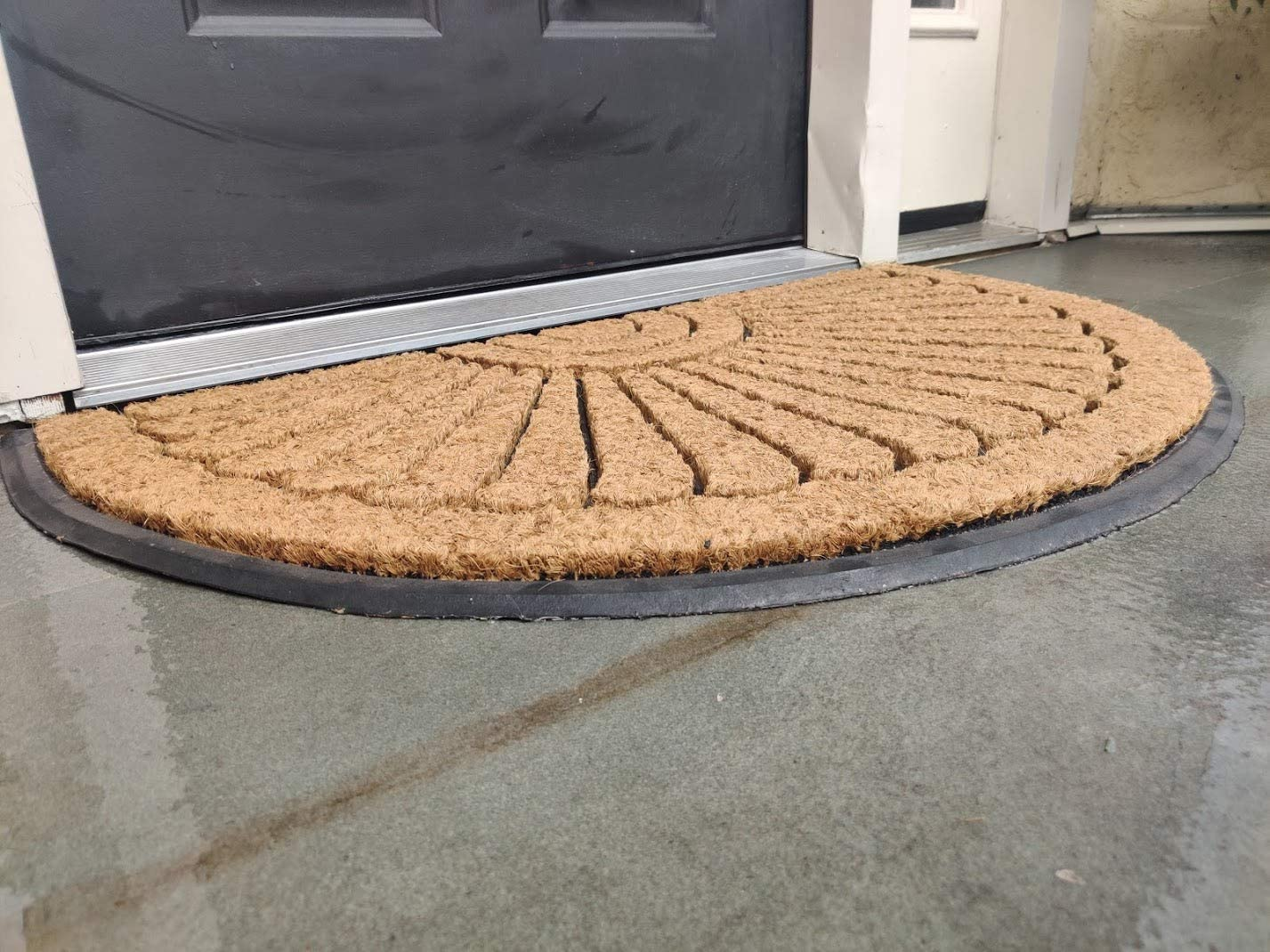 Kempf Half Round Inlaid Sun Ray Doormat Outdoor Entrance Mat 18 X 30 Inch Kitchen Dining