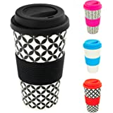 Rink Drink Reusable Coffee Travel Cup Eco Friendly BPA Free Bamboo with Silicone Lid & Sleeve, 400ml - Retro Diamond - Black