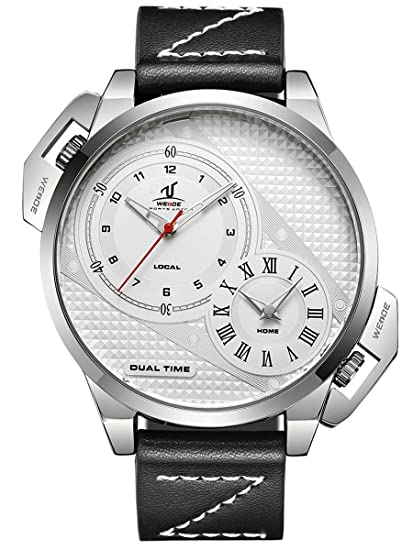 Alienwork Reloj Hombre Relojes Piel de Vaca Negro Analógicos Cuarzo Plata Blanco Impermeable XXL Oversized