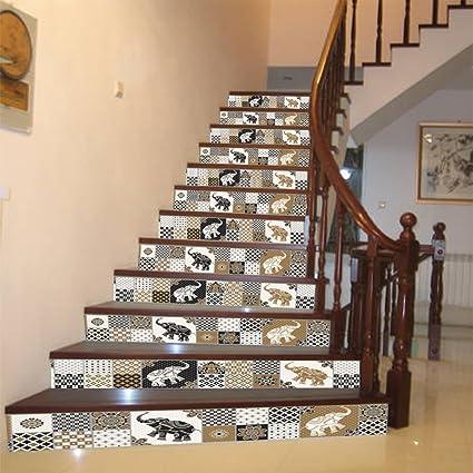 ammwzl-vintage estilo marroquí escaleras adhesivo Home Office Hotel personalidad escaleras decorativas Adhesivos decorativos dibujo papel 100 cm x 18 cm x 13 piezas): Amazon.es: Bricolaje y herramientas