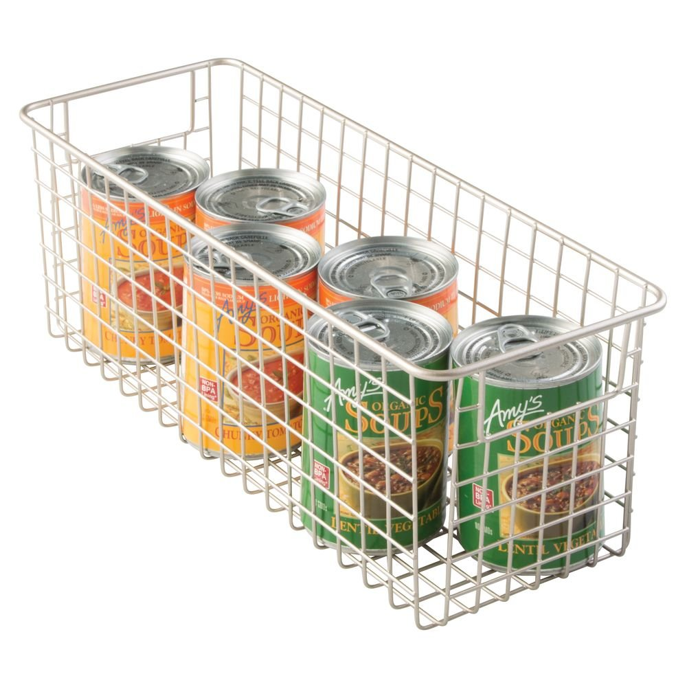 Cajas de almacenaje multiuso Caja organizadora multiprop/ósito con asas para transporte Color: satinado Cesta de almacenaje compacta para cocina ba/ño oficina o garaje mDesign