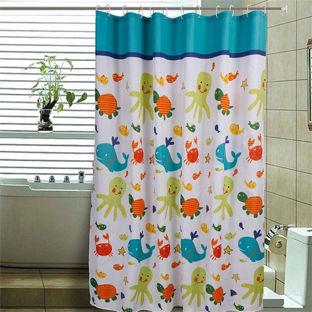 MRZZ Thickening Shower Curtain Waterproof,Cartoon Turtle and Fish Printing Decorative Background Polyester,Bathroom Curtains - Plastic Hanging Ring/Hook. (Color : White, Size : 180200cm)