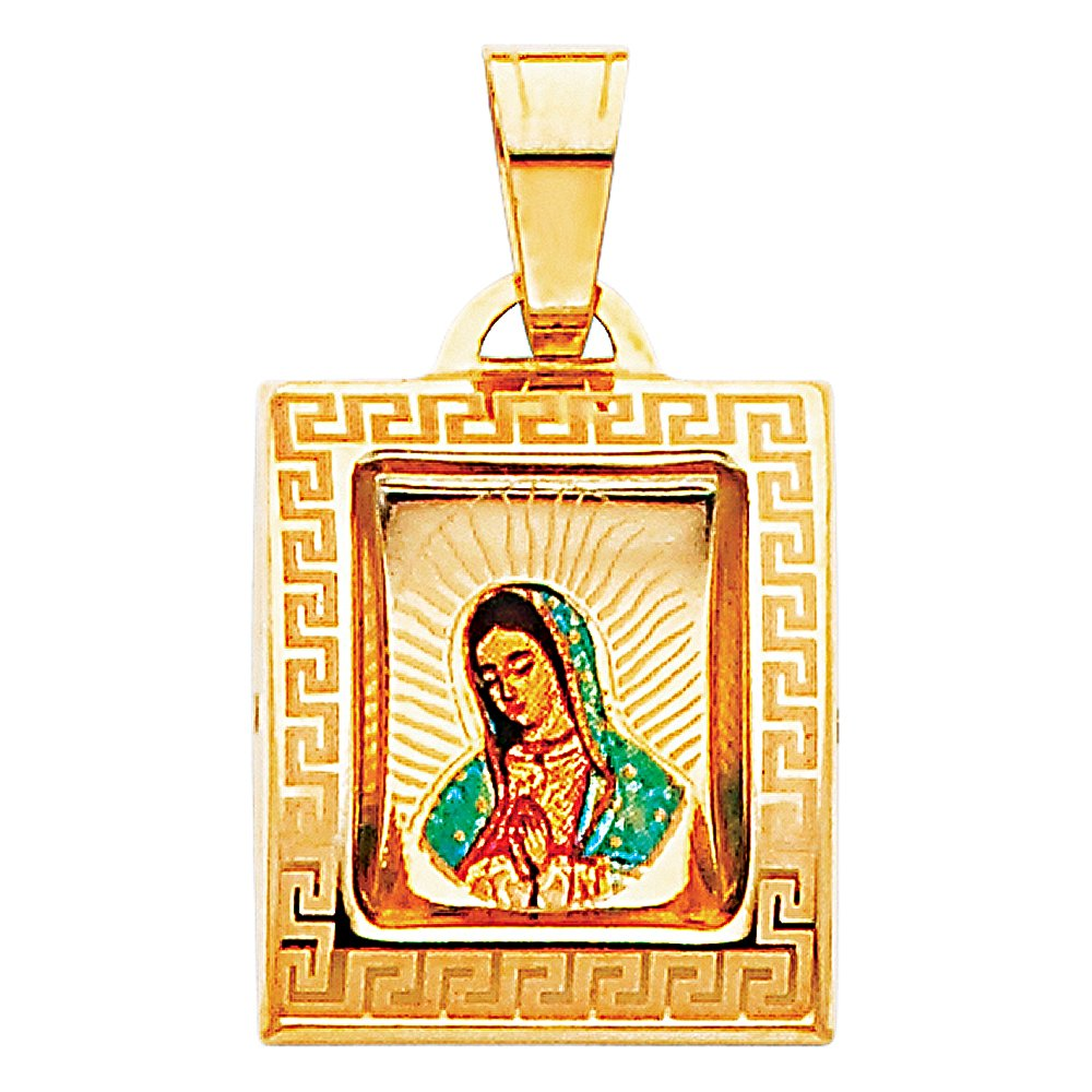 18mm x 15mm with 18 Rolo Chain Million Charms 14k Yellow Gold Small//Mini Religious Virgen De Guadalupe Picture Pendant