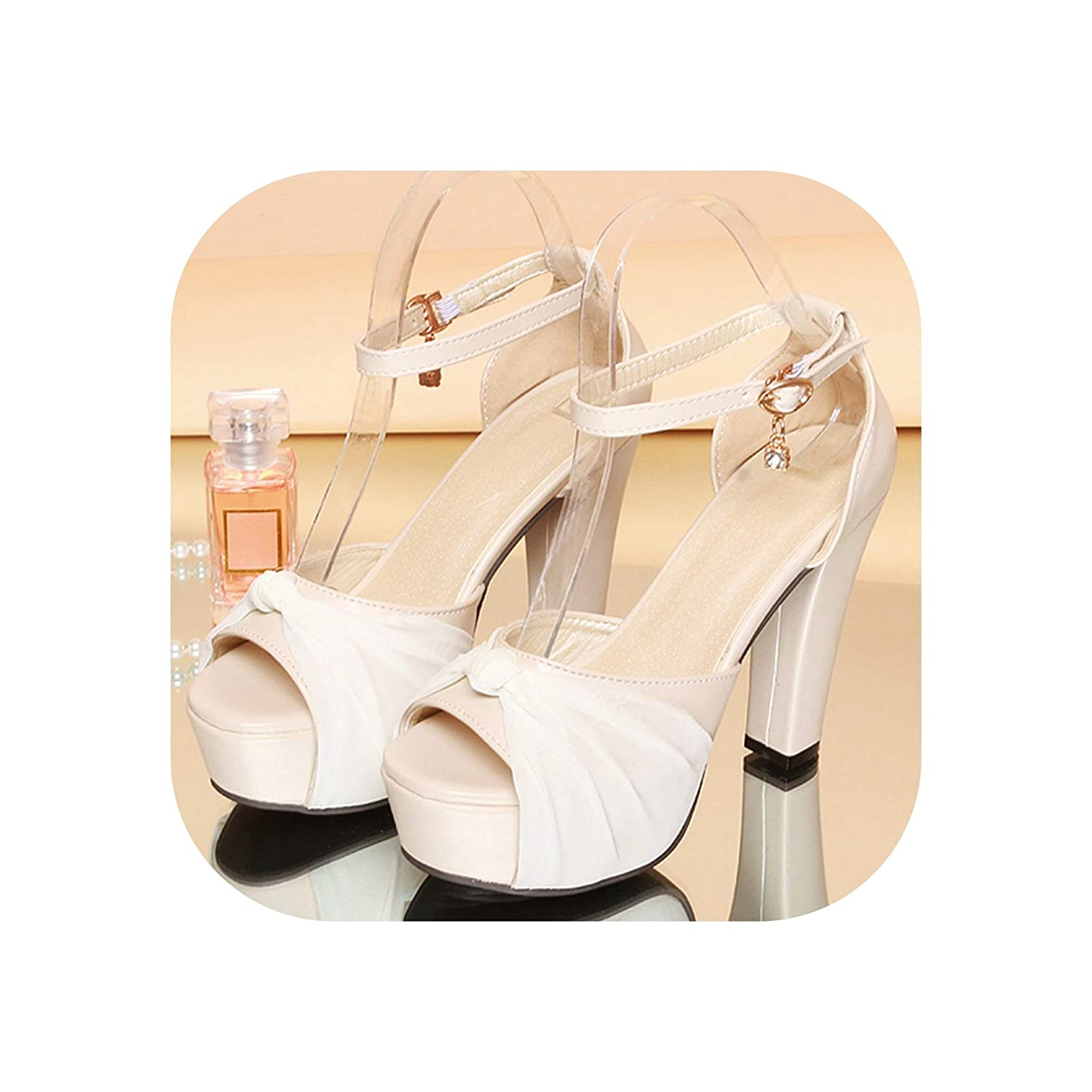 Beige Wedding shoes Thick High Heels Peep Toe Summer Sandals Ladies Ankle Strap