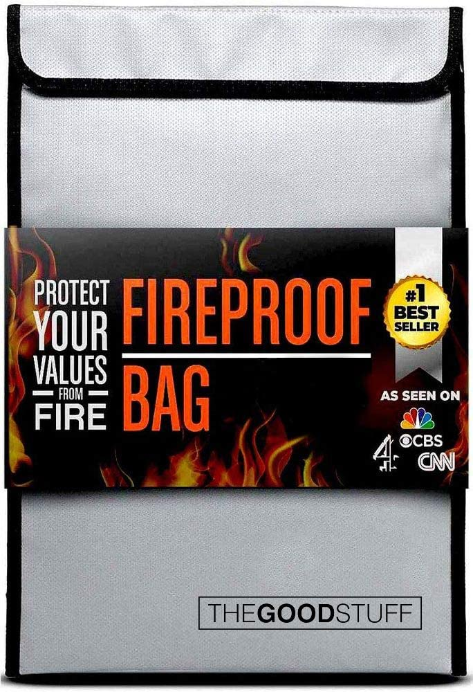 Fireproof Document Bag (2000℉), Protect Important Documents, Fireproof Bags (Extra Strength), Waterproof and Fireproof Document Bag, Fire Safe Bags, Keep Your Documents Safe (Legal) by The Good Stuff: Kitchen & Dining