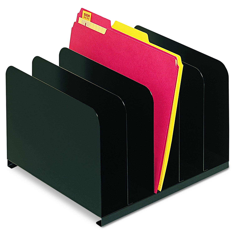 SteelMaster 2645004 Desktop Vertical Organizer, Five Sections, Steel, 12 x 11 x 8 1/8, Black