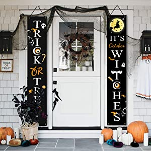 Halloween Porch Sign Banners 2 PCS | Halloween Outdoor Decorations | Trick or Treat & It's October Witches Halloween Front Door Decor | Halloween Fall Welcome Hanging Sign