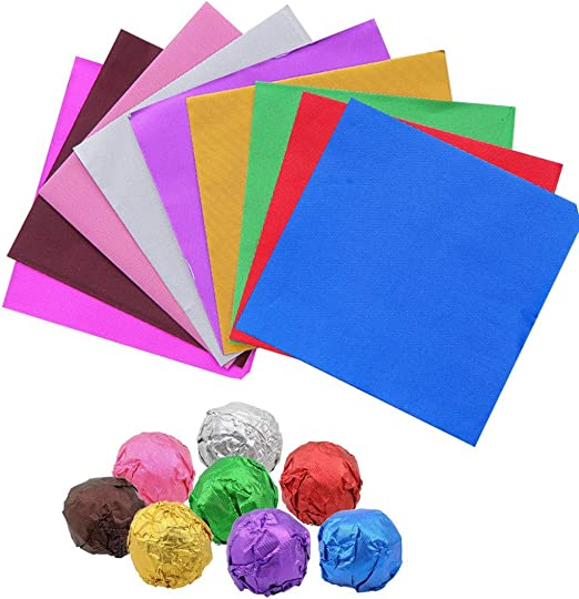 Square Foil Wrappers Package for Sweets Candy Chocolate Lolly Party Colored Paper Confectionary Pack of 100 Coffee