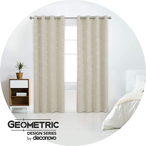 Deconovo 108 Inches Long Blackout Curtains 2 Panels Room Darkening Geometric Line Patterned Thermal Grommet Curtain