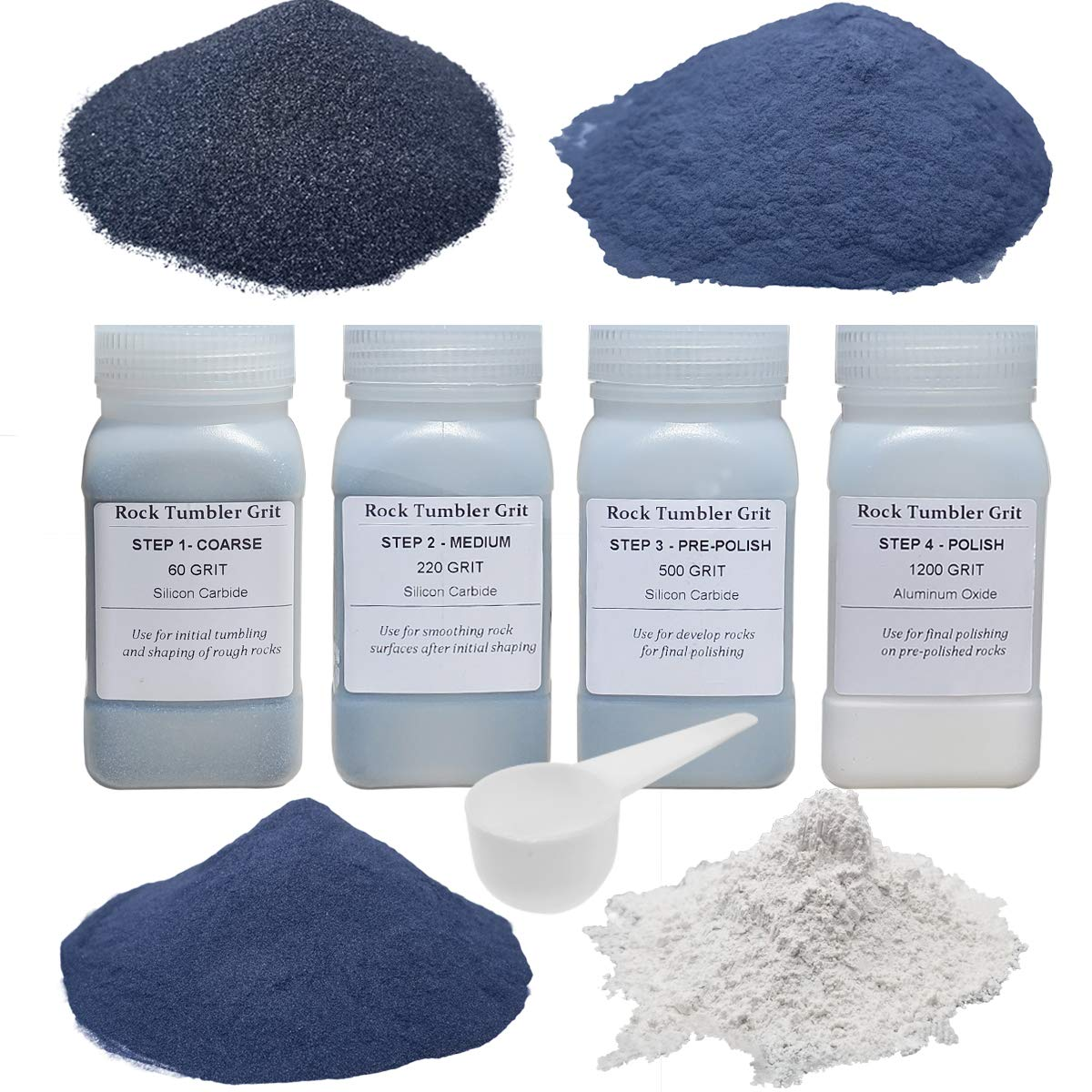 Tonmp Rock Tumbler Refill Grit Media Kit (3 pounds)| 4-Steps for Tumbling Stones, Compatible with National Geographic, Thumler, and Lortone Tumblers by Tonmp