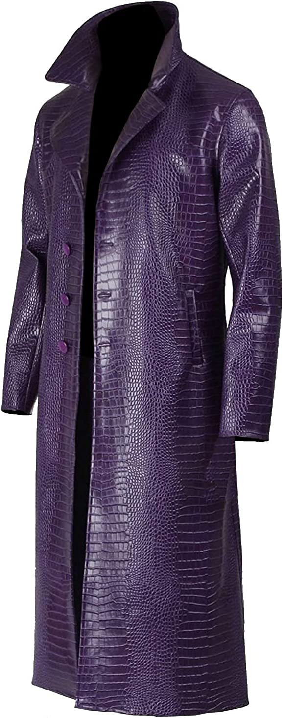 Artificially Textured As Crocodile Skin Purple Glossy Men/'s Long Coat Faux Leather