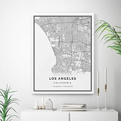 photograph relating to Printable Map of Los Angeles named : Squareious Los Angeles Map Canvas Print, Metropolis